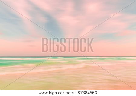 Abstract Blur Sky And Ocean Nature Background With Blurred Panning Motion