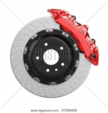 Automobile Brake Disk With Red Caliper