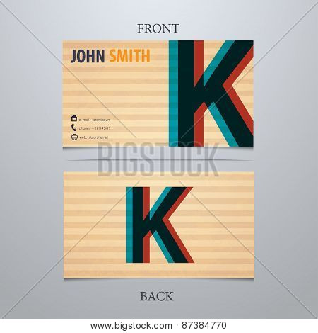 Business Card Template, Letter K