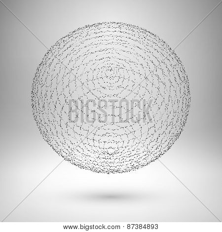 Wireframe mesh element. The sphere consisting of points.