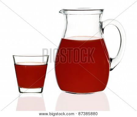 Plum Juice In A Glass And Carafe