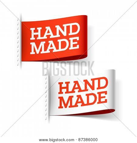 Handmade red and white labels. Vector.