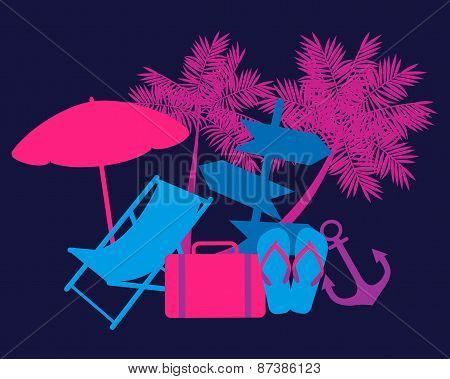Weekend concept. Deckchair, palm trees and a suitcase. Vector illustration
