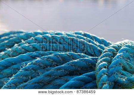 Blue Nylon Rope Close Up