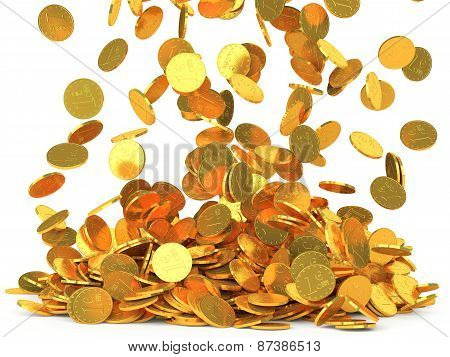 Falling Coins Isolated On White Background
