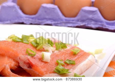Slice Of Red Fish Salmon And Eggs