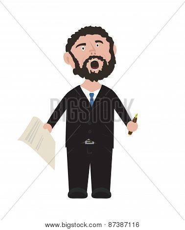 Unshaven Businessman shouting in black suit with blue tie holding pen and contract cartoon illustrat
