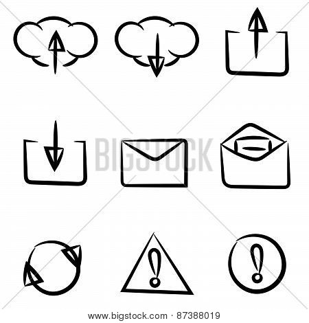 Set Of Icons Painted By Hand. Can Be Used In Web Or Mobile Software. Black And White.