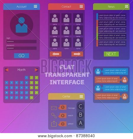 Set Of Templates Mobile Interface. Flat And Transparent Ui/ux. Can Be Used In Mobile, Tablet Or Web