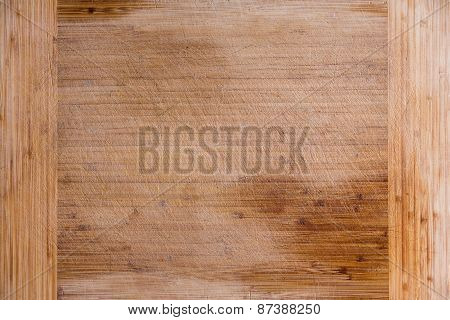 Empty Old Bamboo Cutting Board For Background
