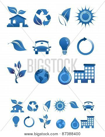 Web Icons Set In Dark Blue