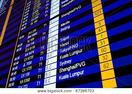Hong Kong, International Airport - 26 October 2012: Arrival Board
