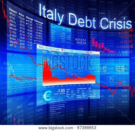 Italy Debt Crisis Economic Stock Market Banking Concept