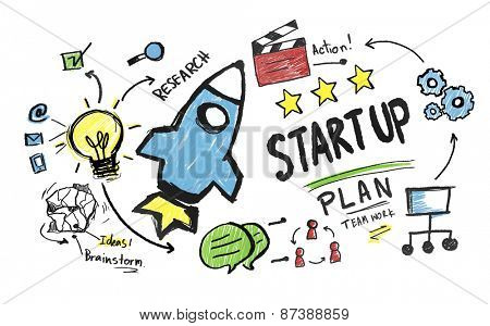 Start Up Launch Success Strategy Business Concept