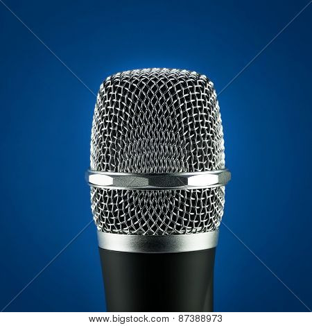 Wireless Microphone On Blue Background