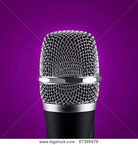 Wireless Microphone On Purple Background