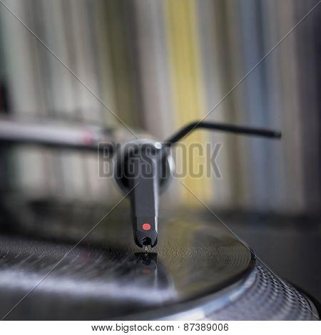Dj Stylus On Spinning Vinyl, Record Background
