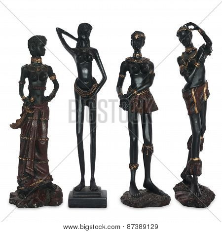 old statuettes of African women