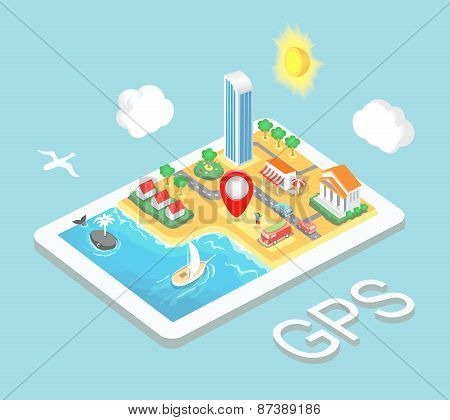 Flat map mobile GPS navigation, Infographic 3d isometric concept. GPS route map. Vector illustration