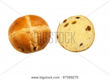 Whole and half Hot Cross Buns