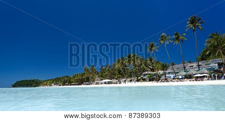 Tropical Beach With Palm And White Sand, Boracay
