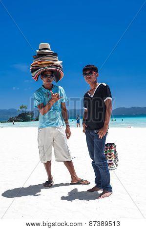 Philippines, Boracay Island - 20 March 2013: Beach Sellers On Coastline