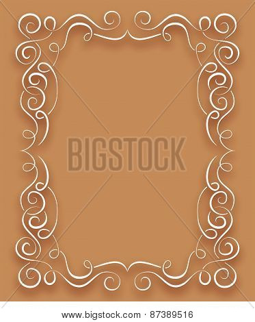 Vector White Frame With Curls On A Brown Background