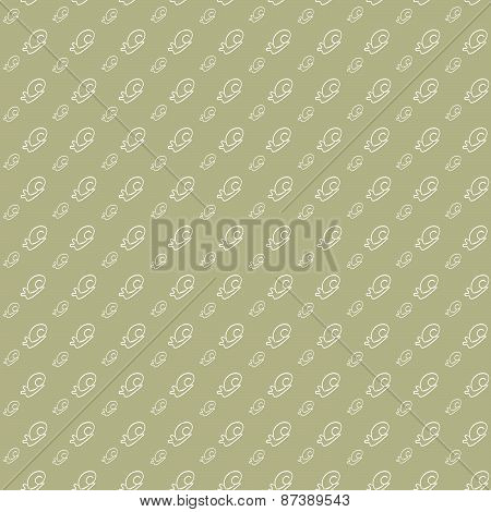 Vector Seamless Background. White Snail On A Light Brown
