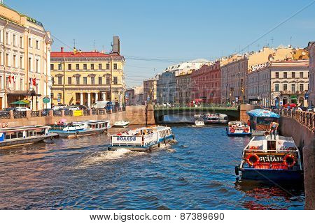 Saint-Petersburg. Russia. Boats on the Moika River