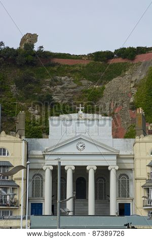 Church Under Cliffs In Hastings Town. England