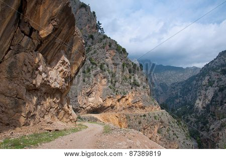 The road through canyon in the mountains