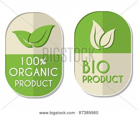 100 Percent Organic And Bio Product With Leaf Sign, Two Elliptical Labels