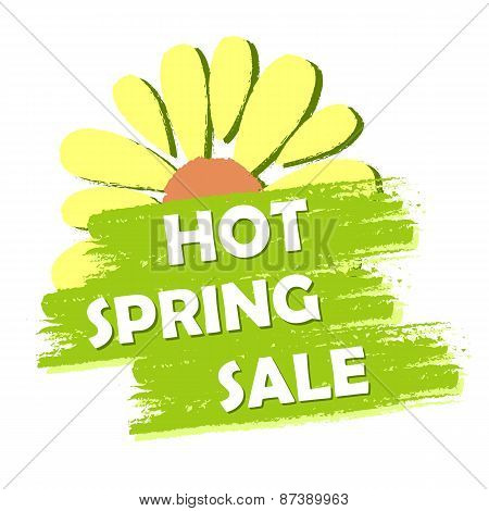 Hot Spring Sale With Flower, Green Drawn Label