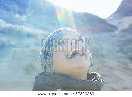 happy people outdoor double exposure lens flare backlight