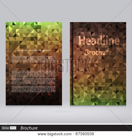 Abstract Triangle Vector Brochure Template. The Modern Concept Of Geometric Shapes