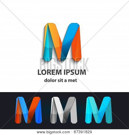 Vector Abstract Logo Infinity Design. Creative Concept Icons Set Letter M
