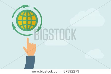A hand pointing to globe icon. A contemporary style with pastel palette, light blue cloudy sky background. Vector flat design illustration. Horizontal layout with text space on right part.