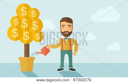 A Caucasian businessman with beard standing while happily watering a money plant growing bigger in a pot as a sign of his success in business. Career, investor concept. A contemporary style with