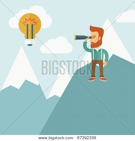 A Happy young hipster man with the beard holding telescope looking the bulb on the top of the blue mountain with snow trying to get some ideas on the sky. A contemporary style with pastel palette soft