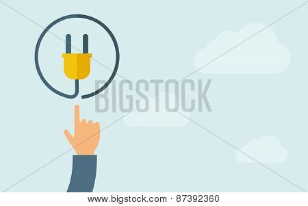 A hand pointing to plug icon. A contemporary style with pastel palette, light blue cloudy sky background. Vector flat design illustration. Horizontal layout with text space on right part.