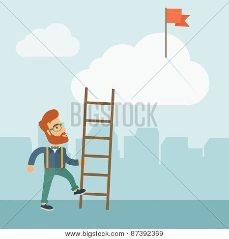 A hipster Caucasian man with beard standing while holding the career ladder to get the flag in the clouds. Career, success concept. A contemporary style with pastel palette soft blue tinted background
