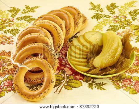 Bagels With Poppy Seeds And Pickled Cucumbers