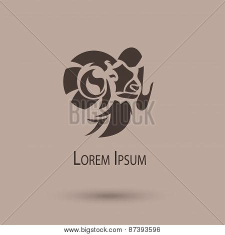 Chinese New Year Of The Ram Head Silhouette. Stylized Vector Illustration