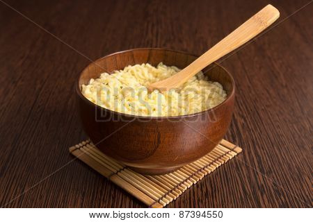 Instant Noodles In A Wooden Bowl