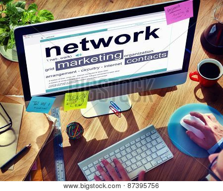 Network Connection Communication Technology Searching Concept