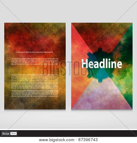 Set Of Corporate Business Stationery Templates. Vector Abstract Brochure Design. Modern Back And Fro