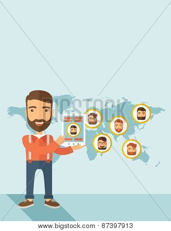 A hipster Caucasian man standing holding tablet with social media. A contemporary style with pastel palette soft blue tinted background. Vector flat design illustration. Horizontal layout with text