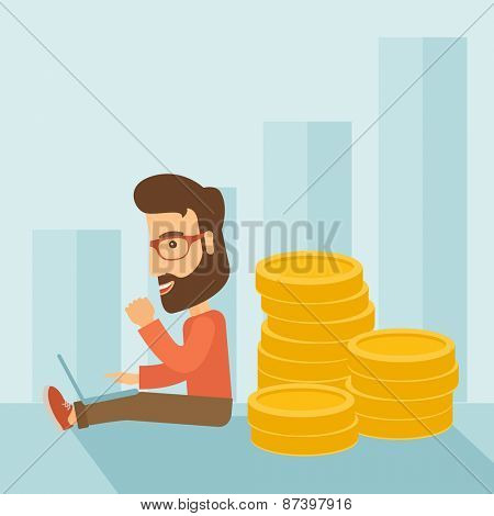 Successful hipster Caucasian businessman with beard is sitting with a pile of gold coins on his back and a laptop on his lap. Winner concept. A contemporary style with pastel palette soft blue tinted