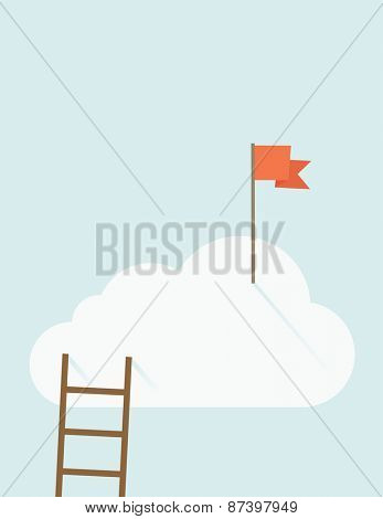 A ladder with red flag on top of the cloud. A contemporary style with pastel palette soft blue tinted background with desaturated clouds. Vector flat design illustration. Vertical layout with text