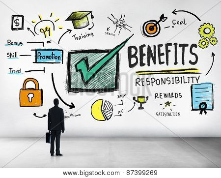 Benefits Gain Profit Earning Income Businessman Goal Concept